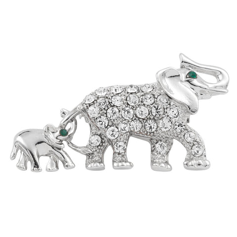 Elephant Trailing Baby Silver Jeweled Pin