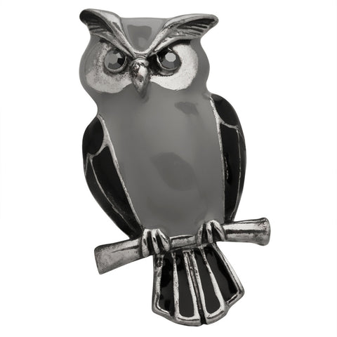 Owl Perched on a Branch Silver-Tone Pin