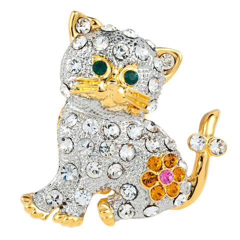Kitten With Flower Gold Jeweled Bar Pin
