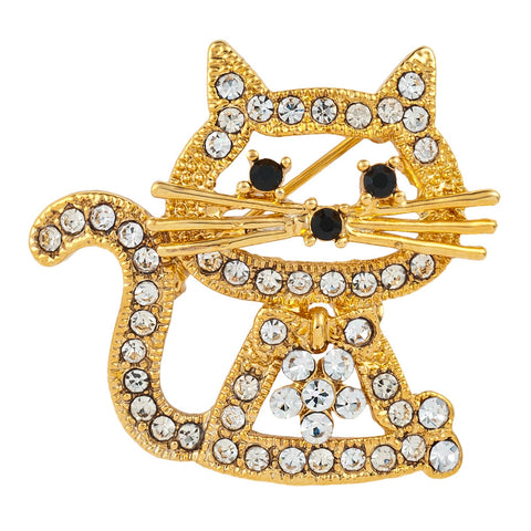 Sitting Kitty Gold Jeweled Pin