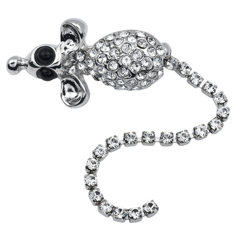 Mouse With Dangle Tail Jeweled Silver-Tone Pin