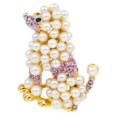 Poodle Gold Pearl Bar Pin