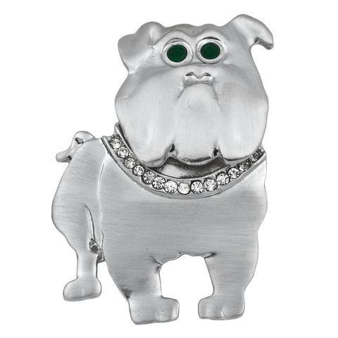 Silver Bulldog With Jeweled Collar Bar Pin