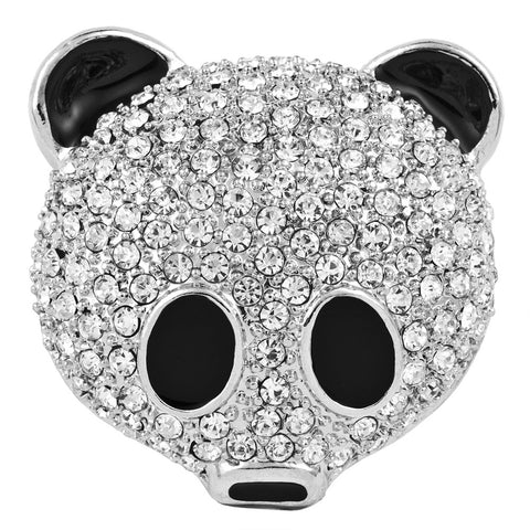 Jeweled Silver-Tone Panda Face Pin