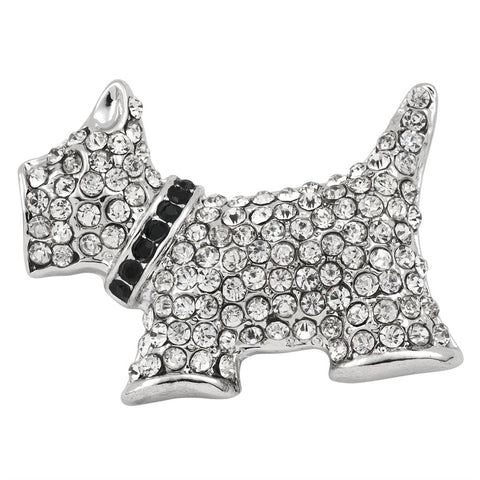 Scottie With Collar Jeweled Silver-Tone Pin