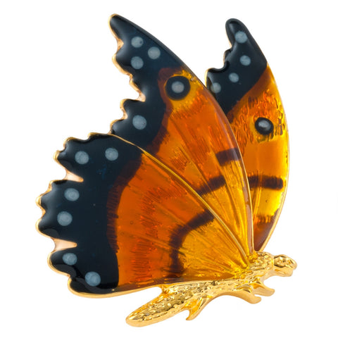 Painted Butterfly Gold-Tone Pin