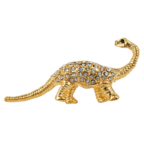 Dinosaur Jeweled Gold Bar Pin