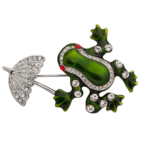 Frog with Umbrella Painted Silver-Tone Pin