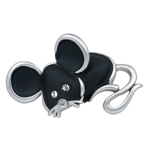 Silver Painted Mouse Bar Pin
