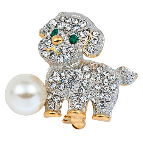 Jeweled Gold Dog With Pearl Ball Pin