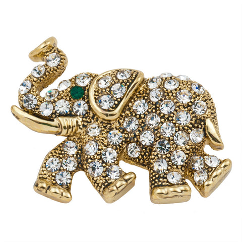 Elephant Walking Jeweled Gold Bar Pin