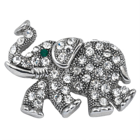 Elephant Walking Jeweled Silver Pin