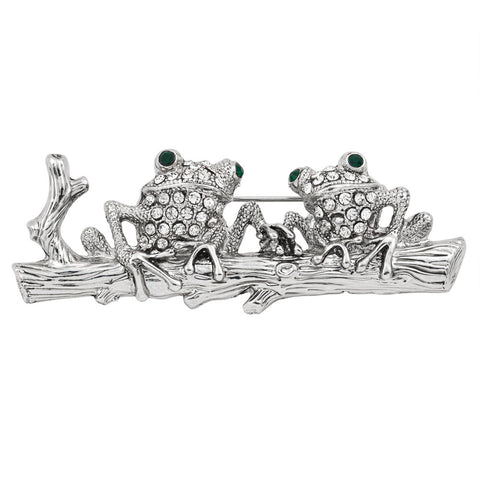 Frogs on a Branch Jeweled Silver-Tone Pin