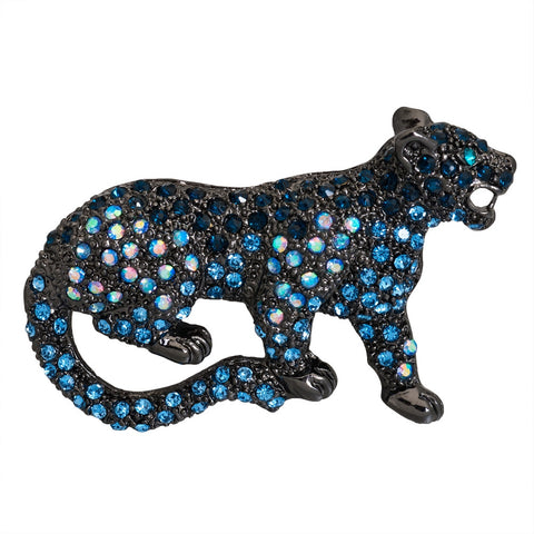 Panther Jeweled Silver-Tone Pin