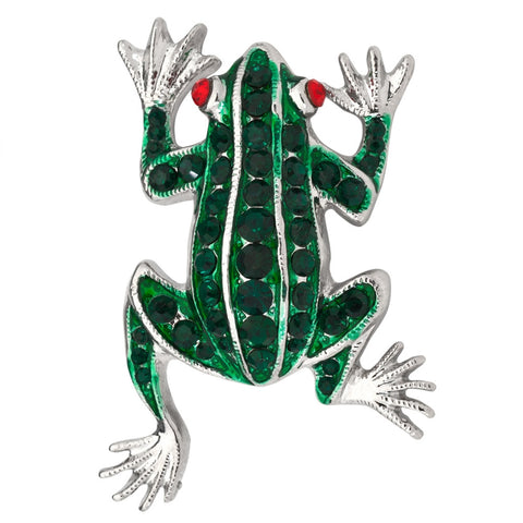 Green Frog Jeweled Silver Bar Pin