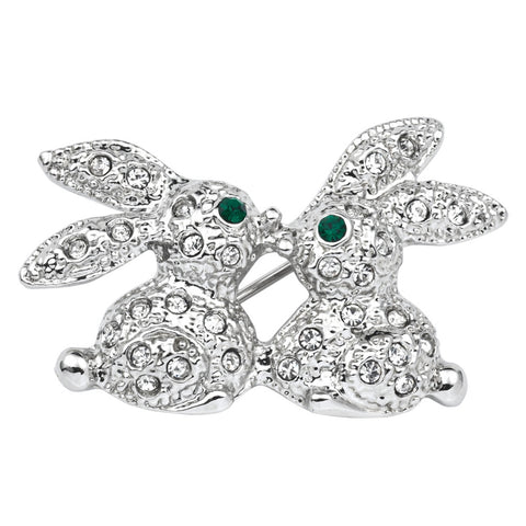 Jeweled Silver Rabbits Kissing Bar Pin