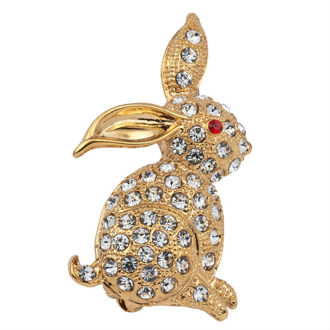 Red Eyed Rabbit Jeweled Gold Bar Pin