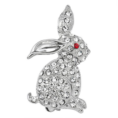 Red Eyed Rabbit Jeweled Silver Bar Pin