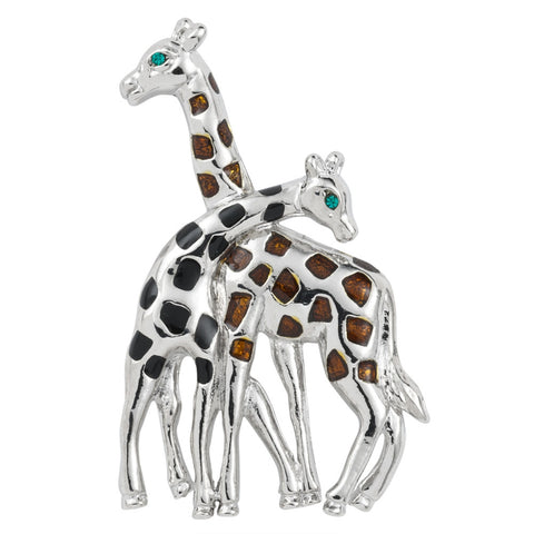 Silver Giraffes Hugging Bar Pin