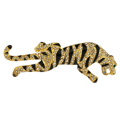 Tiger Prowl Jeweled Gold Bar Pin
