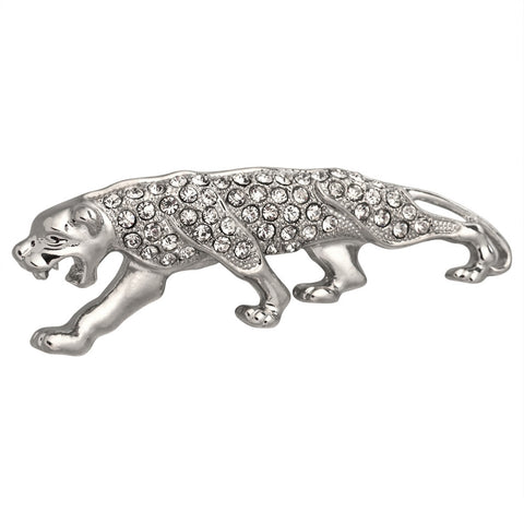 Panther Growl Jeweled Silver-Tone Pin