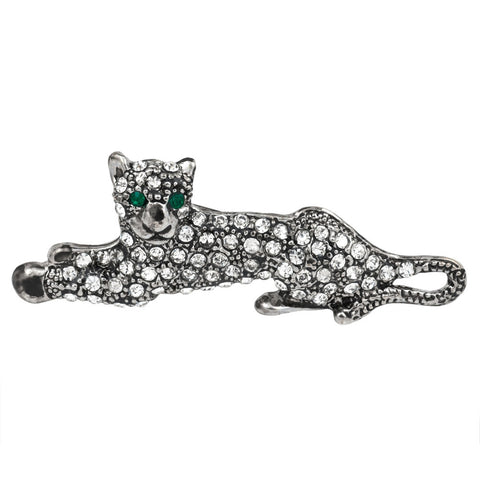 Jeweled Silver Tiger Laying Bar Pin