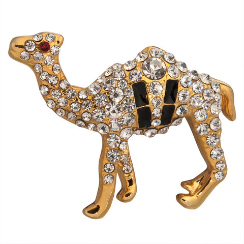 Jeweled Gold Camel Pin
