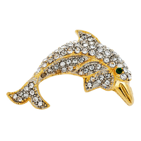 Jeweled Gold Dolphin Bar Pin