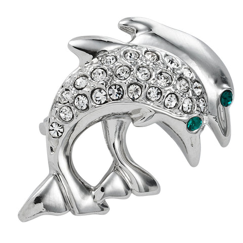 Dolphins Breaching Jeweled Silver Bar Pin