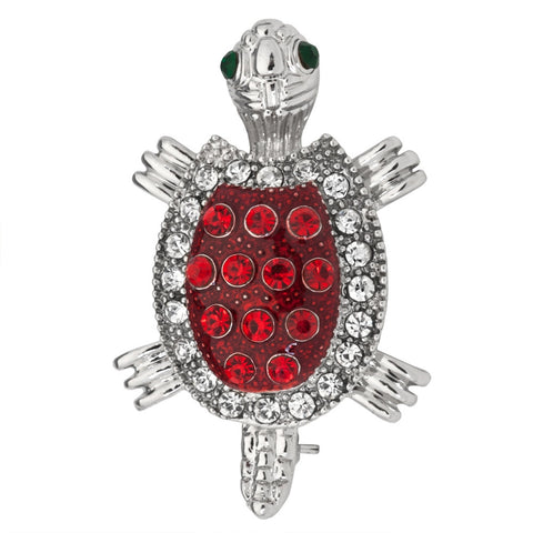 Red Turtle Jeweled Silver Bar Pin