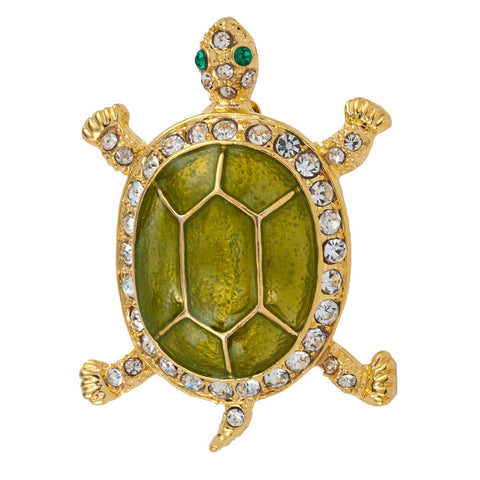Green Turtle Jeweled Gold Pin