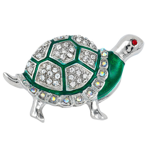 Green Turtle Painted Silver Bar Pin