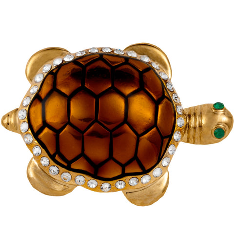 Green Turtle Painted Small Gold Bar Pin