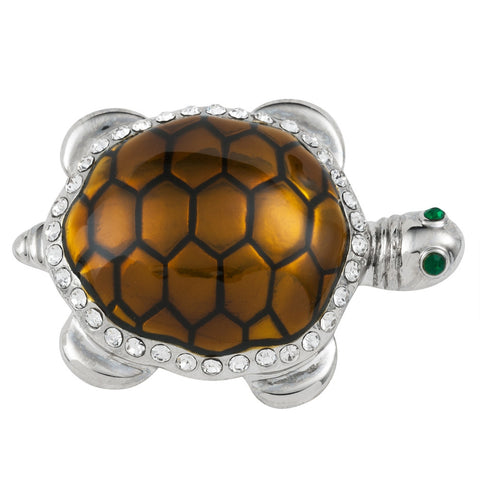 Green Turtle Painted Small Silver Bar Pin