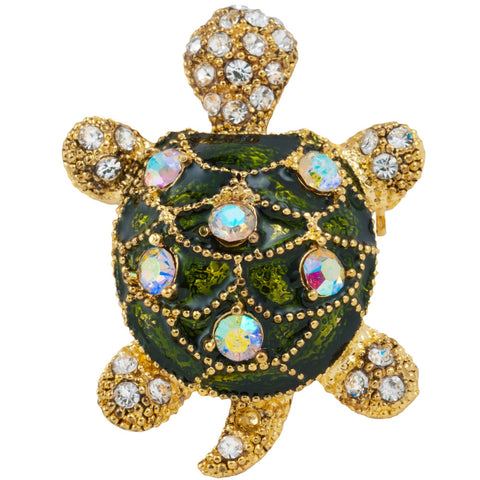 Turtle Jeweled Painted Gold Bar Pin