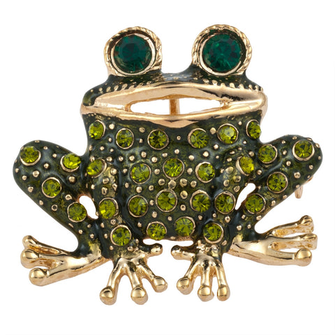 Olive Frog Jeweled Gold Bar Pin