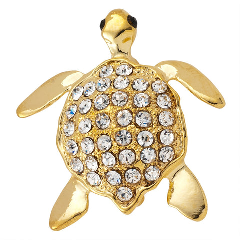 Gold-Tone Turtle Jeweled Pin