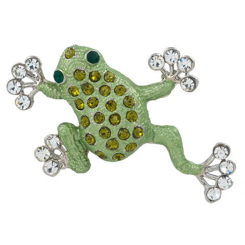 Green Frog Climbing Painted Silver Bar Pin