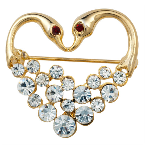 Jeweled Gold Swan Heart Bar Pin