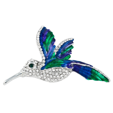 Hummingbird Painted Silver Bar Pin