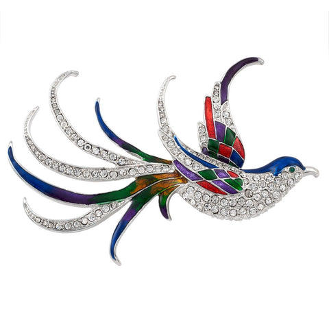 Tropical Bird Jeweled Silver-Tone Pin