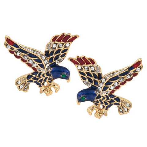 Colorful Eagle Gold Clip Earrings