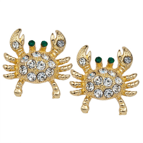 Jeweled Crab Gold Post Earrings