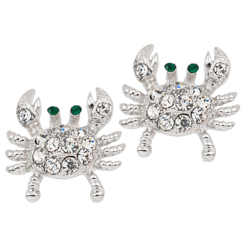 Jeweled Crab Silver-Tone Post Earrings