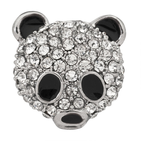 Panda Jeweled Silver Clutch Pin