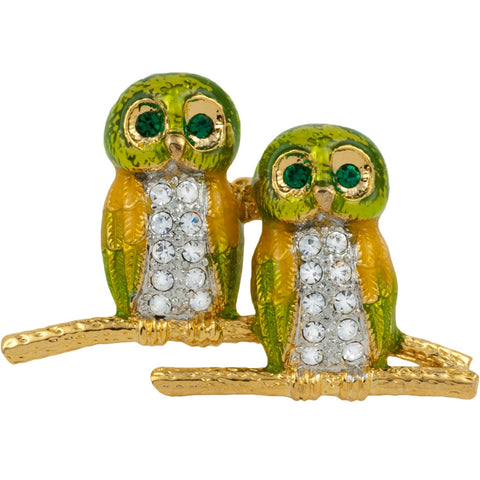 Owl Jeweled Gold Clutch Pin