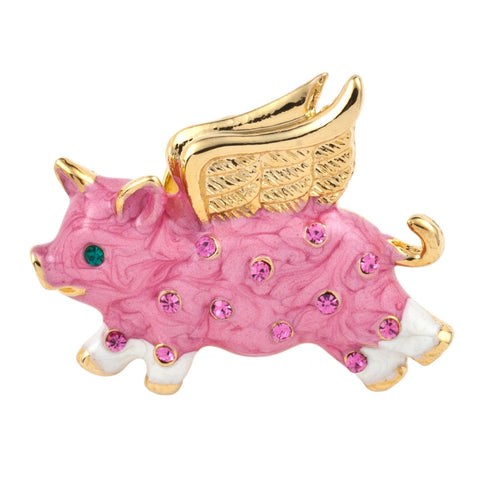 Pig Jeweled Gold Clutch Pin
