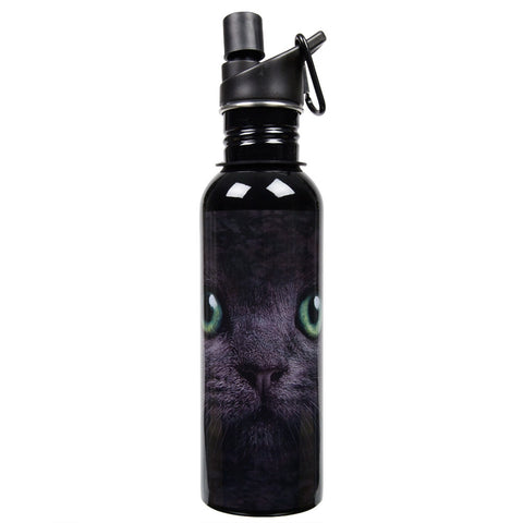 Black Cat With Green Eyes Water Bottle