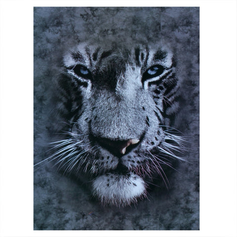 White Tiger Face Fleece Blanket