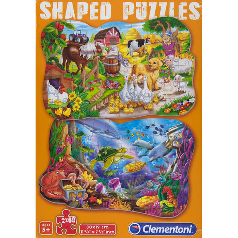 Funny Animals Shaped 60-Piece Puzzle 2-Pack